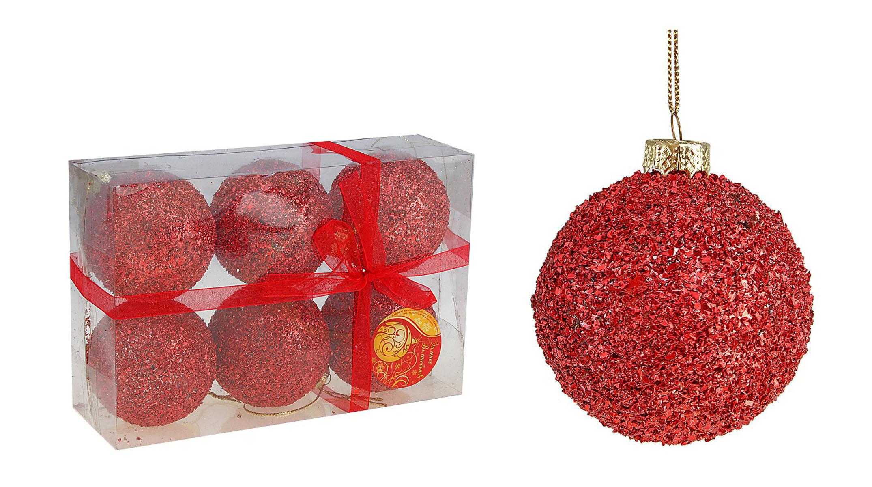 Набор новогодних подвесных украшений Sima-land Шар, цвет: красный, диаметр 6 см, 6 шт. 542455542455Набор новогодних подвесных украшений Sima-land Шар прекрасно подойдет для праздничного декора новогодней ели. Набор состоит из 6 игрушек, выполненных из пластика и украшенных блестками. Для удобного размещения на елке для каждой игрушки предусмотрена текстильная петелька. Елочная игрушка - символ Нового года. Она несет в себе волшебство и красоту праздника. Создайте в своем доме атмосферу веселья и радости, украшая новогоднюю елку нарядными игрушками, которые будут из года в год накапливать теплоту воспоминаний. Коллекция декоративных украшений принесет в ваш дом ни с чем не сравнимое ощущение волшебства! Откройте для себя удивительный мир сказок и грез. Почувствуйте волшебные минуты ожидания праздника, создайте новогоднее настроение вашим дорогим и близким.