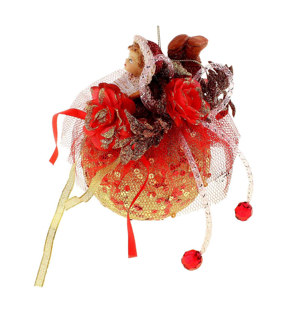 Новогоднее подвесное украшение Sima-land Девочка на шаре, диаметр 10 см684422Новогоднее украшение Sima-land Девочка на шаре отлично подойдет для декорации вашего дома и новогодней ели. Игрушка выполнена из пластика в виде большого шара, декорированного пайетками, текстильной сеткой и лентами, цветами, листьями и декоративными камнями. Сверху на шаре располагается фигурка лежащей с книгой девочки из полистоуна. Украшение оснащено текстильной петелькой для подвешивания. Елочная игрушка - символ Нового года. Она несет в себе волшебство и красоту праздника. Создайте в своем доме атмосферу веселья и радости, украшая всей семьей новогоднюю елку нарядными игрушками, которые будут из года в год накапливать теплоту воспоминаний. Коллекция декоративных украшений из серии Зимнее волшебство принесет в ваш дом ни с чем не сравнимое ощущение праздника!
