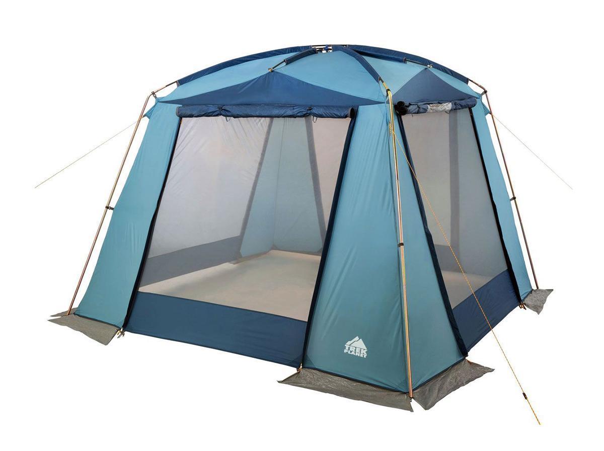 Шатер-тент TREK PLANET DINNER DOME, 350 см х 350 см х 210 см, цвет: синий, голубой70250Универсальный шатер четырехугольной формы TREK PLANET Dinner Dome с большим внутренним помещением и прекрасной обзорностью отлично подойдет как для дачи, так и для кемпинга. При открытых по всему периметру окнах - хорошо проветривается. При полностью закрытых шторках - полностью защищает от дождя. Особенности шатра: - легко собирается и разбирается; - устойчив на ветру; - тент шатра из полиэстера, с пропиткой PU водостойкостью 2000 мм, надежно защитит от дождя и ветра, все швы проклеены; - каркас: боковые стойки из стали, потолочные дуги из прочного стеклопластика; - большие москитные сетки во всю ширину окон и дверей; - защитные шторы на каждом окне и двери; - два входа в шатер; - защитным полог по всему периметру защищает от ветра, дождя и насекомых; - возможность подвески фонаря в палатке; - материал дуг: стеклопластик 12,7/11 мм, сталь 19 мм; - размер в сложенном виде: 23 см х 23 см х 87 см. ...