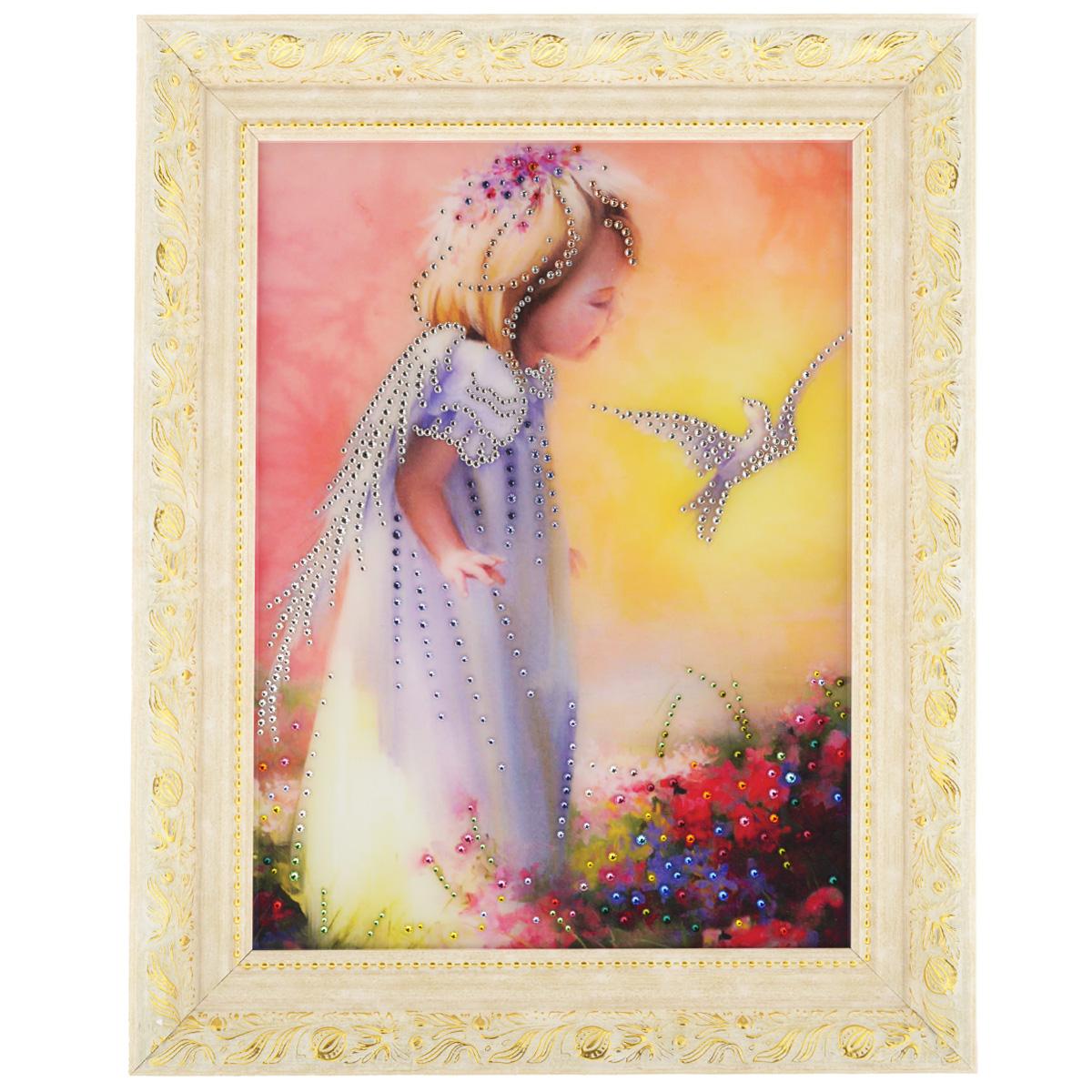Картина с кристаллами Swarovski Детство, 50 см х 40 см1090Изящная картина в багетной раме, инкрустирована кристаллами Swarovski, которые отличаются четкой и ровной огранкой, ярким блеском и чистотой цвета. Красочное изображение маленькой девочки и птички, расположенное под стеклом, прекрасно дополняет блеск кристаллов. С обратной стороны имеется металлическая проволока для размещения картины на стене. Картина с кристаллами Swarovski Детство элегантно украсит интерьер дома или офиса, а также станет прекрасным подарком, который обязательно понравится получателю. Блеск кристаллов в интерьере, что может быть сказочнее и удивительнее. Картина упакована в подарочную картонную коробку синего цвета и комплектуется сертификатом соответствия Swarovski.