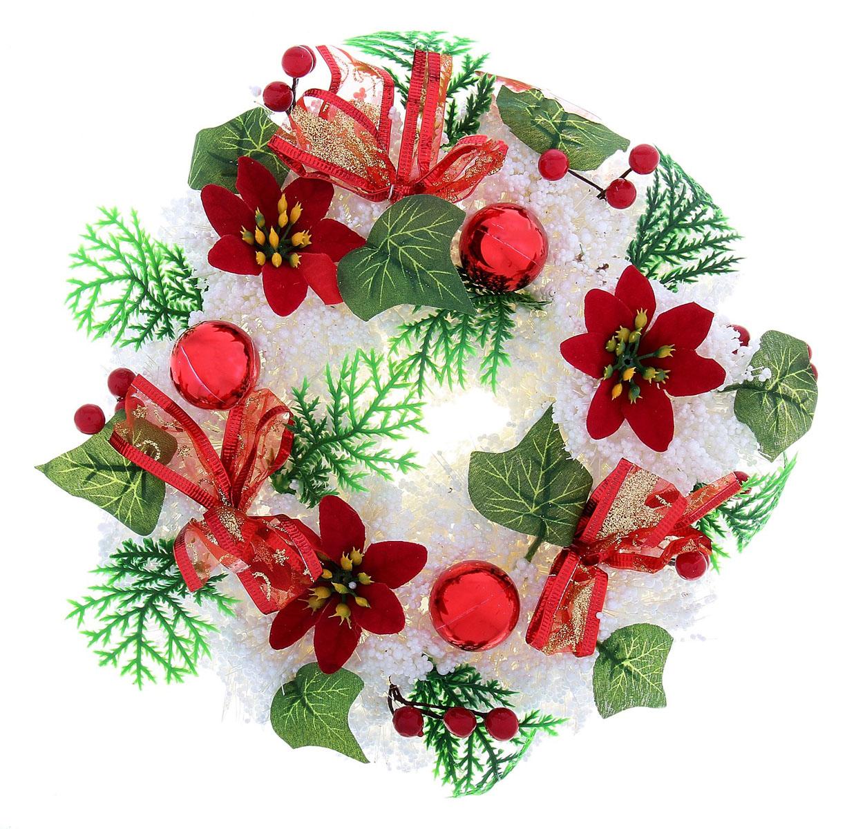 Новогоднее декоративное украшение Sima-land Венок. Снег, цветы и ягодки, диаметр 22 см718863Декоративный венок Sima-land Венок. Снег, цветы и ягодки, дополнит интерьер любого помещения, а также может стать оригинальным подарком для ваших друзей и близких. Композиция выполнена в виде венка из искусственной ветки украшенной пенопластовыми шариками, текстильными бантиками и декоративными ягодками, цветочками и шариками. Венок украшен блестками. Оформление помещения декоративным венком создаст праздничную, по-настоящему радостную и теплую атмосферу. Новогодние украшения всегда несут в себе волшебство и красоту праздника. Создайте в своем доме атмосферу тепла, веселья и радости, украшая его всей семьей.