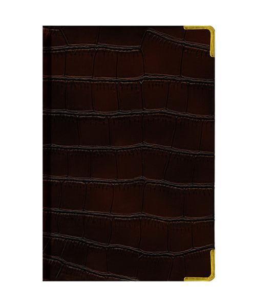 Ежедневник А5 Полудатированный Impact (темно-коричневый) 192л. (BUSINESS PRESTIGE) Искусственная кожа с поролономЕКП51419211В линейке бизнес-ежедневников представлены датированные, полудатированные и недатированные внутренние блоки на офсетной бумаге плотностью 70гр.м. Коллекция прекрасно подходит в качестве подарка. Обложка обладает возможностью термотиснения. Внутренний блок прошит, что гарантирует отсутствие потери листов при активном использовании. Цветные форзацы подчеркивают высокий статус ежедневника. Металлические скругленные углы защищают эту серию продукции при активном использовании. Особый шарм и статус ежедневникам придает разнообразие отделок поверхностей. Исследование с фокус-группами показало, что качество текстур неотличимо от оригинальных поверхностей. Доступный статус - кредо коллекции Business Prestige! Виды отделки: Ancient (гладкая и мягкая кожа), Iguana, Skin, Gold, Nappa, Croco, Grand croco, Impact.