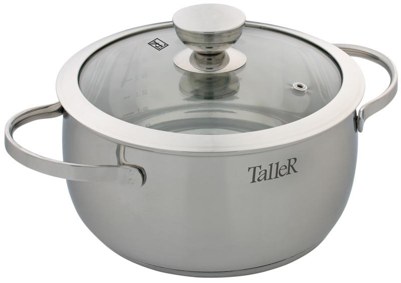Кастрюля Taller Хантли с крышкой, 3 лTR-1019Кастрюля Taller Хантли изготовлена из высококачественной нержавеющей стали 18/10 с зеркальной полировкой. Удобные отметки литража на внутренней поверхности посуды позволяют не использовать при приготовлении дополнительную мерную посуду. Капсулированное дно с алюминиевой вставкой обеспечивает идеальное распределение тепла. Комбинированная крышка из нержавеющей стали и жаропрочного стекла позволяет следить за процессом приготовления, не открывая крышки. Специальное отверстие для выхода пара позволяет готовить с закрытой крышкой, предотвращая выкипание. Ручки изготовлены из высококачественной нержавеющей стали. Надежное крепление ручек гарантирует безопасное использование. Подходит для всех типов плит, включая индукционные. Не использовать в духовом шкафу. Можно мыть в посудомоечной машине. Высота стенки: 10,5 см. Толщина стенки: 0,8 мм. Толщина дна: 5,3 мм. Ширина кастрюли (с учетом ручек): 29 см. Диаметр дна: 17,5 см.