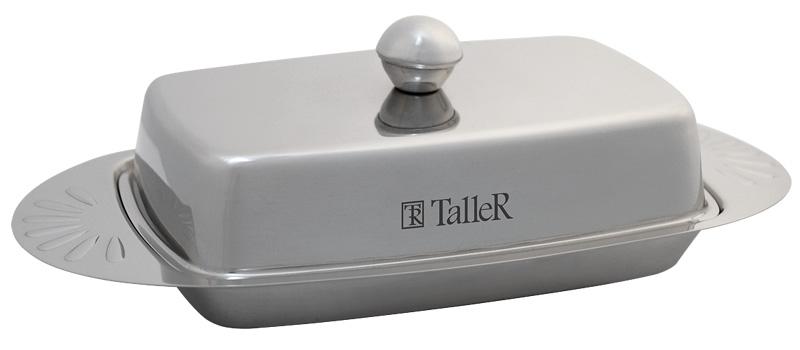 Масленка Taller Edolie, 250 гTR-1214Масленка Taller Edolie идеально подходит для хранения масла и сервировки стола. Масленка выполнена из нержавеющей стали с внешней зеркальной полировкой и состоит из подноса и крышки с ручкой. Благодаря специальным выемкам крышка плотно устанавливается на поднос. Современный изысканный дизайн создаст безупречный стиль для вашей кухни. Масло в такой масленке долго остается свежим, а при хранении в холодильнике не впитывает посторонние запахи. Можно мыть в посудомоечной машине.