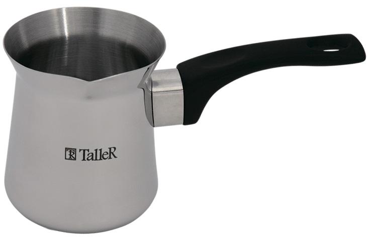 Турка Taller Джеки, 700 млTR-1334Турка для варки кофе Taller Джеки изготовлена из нержавеющей стали 18/10. Специальная форма позволяет удобно сливать жидкость. Внешняя поверхность имеет зеркальную полировку, что придает изделию стильный внешний вид. Внутренняя матовая поверхность устойчива к царапинам. Ручка изготовлена из бакелита. Надежное крепление ручки гарантирует безопасное использование. Такая турка будет красивым дополнением в вашем уютном доме. Можно использовать на всех видах плит, кроме индукционных. Можно мыть в посудомоечной машине. Объем: 700 мл. Диаметр (по верхнему краю): 9 см. Высота стенки: 11 см. Длина ручки: 13 см.