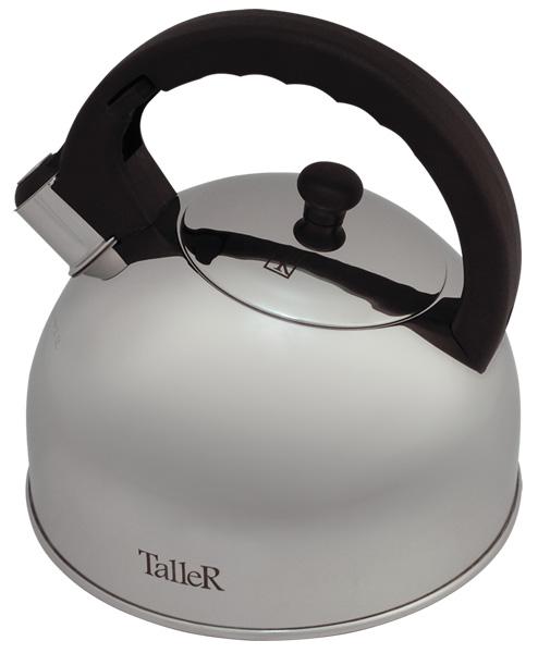 Чайник Taller Robson со свистком, 2,5 л. TR-1338TR-1338Чайник Taller Robson выполнен из высококачественной нержавеющей стали, что обеспечивает долговечность использования. Ненагревающиеся ручки чайника и крышки выполнены из бакелита, что придает большую комфортность в использовании. Внешнее зеркальное покрытие корпуса придает приятный внешний вид. Чайник снабжен свистком, закипание сопровождается звуковым сигналом. На внешней поверхности имеется удобная отметка литража. Капсулированное дно с алюминиевой вставкой обеспечивает идеальное распределение тепла. Чайник Taller Robson пригоден для мытья в посудомоечной машине. Подходит для всех видов плит, включая индукционные.