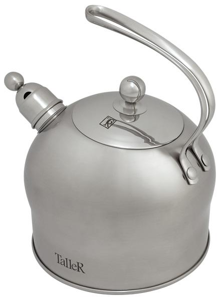 Чайник Taller Oswald со свистком, 2,5 л. TR-1340TR-1340Чайник Taller Oswald выполнен из высококачественной нержавеющей стали, что обеспечивает долговечность использования. Надежное крепление ручки - на клепках - гарантирует безопасное использование. Внешнее матовое покрытие корпуса чайника и зеркальное покрытие крышки придают приятный внешний вид. Чайник снабжен свистком, закипание сопровождается звуковым сигналом. На внешней поверхности имеется удобная отметка литража. Капсулированное дно с алюминиевой вставкой обеспечивает идеальное распределение тепла. Чайник Taller Oswald пригоден для мытья в посудомоечной машине. Подходит для всех видов плит, включая индукционные.