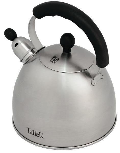 Чайник Taller Norman со свистком, 2,5 л. TR-1342TR-1342Чайник Taller Norman выполнен из высококачественной нержавеющей стали, что обеспечивает долговечность использования. Ручки чайника и крышки выполнены из бакелита, благодаря чему они не нагреваются, что придает большую комфортность в использовании. Внешнее матовое покрытие придает приятный внешний вид. Чайник снабжен свистком, закипание сопровождается звуковым сигналом. На внешней поверхности имеется удобная отметка литража. Капсулированное дно с алюминиевой вставкой обеспечивает идеальное распределение тепла. Чайник Taller Norman пригоден для мытья в посудомоечной машине. Подходит для всех видов плит, включая индукционные.