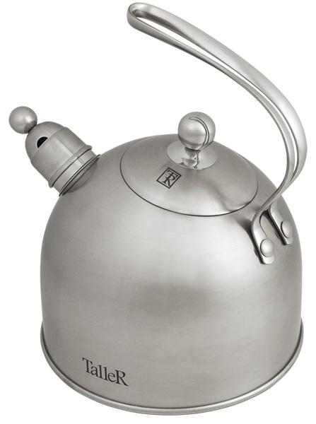 Чайник Taller Bolton со свистком, 2 л. TR-1343TR-1343Чайник Taller Bolton выполнен из высококачественной нержавеющей стали, что обеспечивает долговечность использования. Надежное крепление ручки - на клепках - гарантирует безопасное использование. Внешнее матовое покрытие придает приятный внешний вид. Чайник снабжен свистком, закипание сопровождается звуковым сигналом.На внешней поверхности имеется удобная отметка литража. Капсулированное дно с алюминиевой вставкой обеспечивает идеальное распределение тепла. Чайник Taller Bolton пригоден для мытья в посудомоечной машине. Подходит для всех видов плит, включая индукционные.