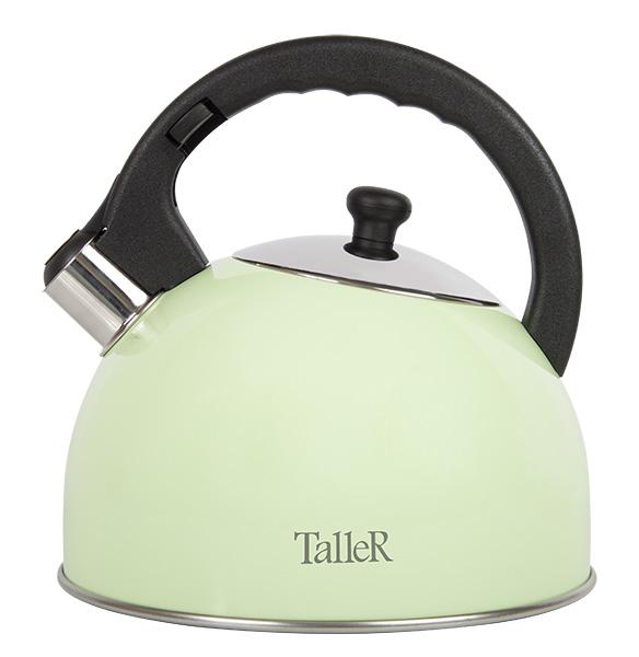 Чайник Taller Эммерсон со свистком, 2,5 лTR-1351Чайник Эммерсон изготовлен из высококачественной нержавеющей стали 18/10. Ручки, изготовленные из бакелита, не нагреваются. Они надежно крепятся, гарантируя безопасное использование. Чайник снабжен свистком. При закипании чайник издает звуковой сигнал. Безопасная конструкция свистка исключает возможность обжечься. Капсульное дно с алюминиевой вставкой обеспечивает идеальное распределение тепла. Подходит для всех видов плит, включая индукционные. Пригоден для мойки в посудомоечной машине.