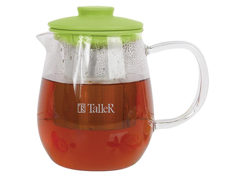 Чайник заварочный TalleR 600 мл(Таллер)TR-1360заварочный чайник, 0,6 л силиконовая крышка термостойкое стекло съемный фильтр пригоден для мытья в посудомоечной машине