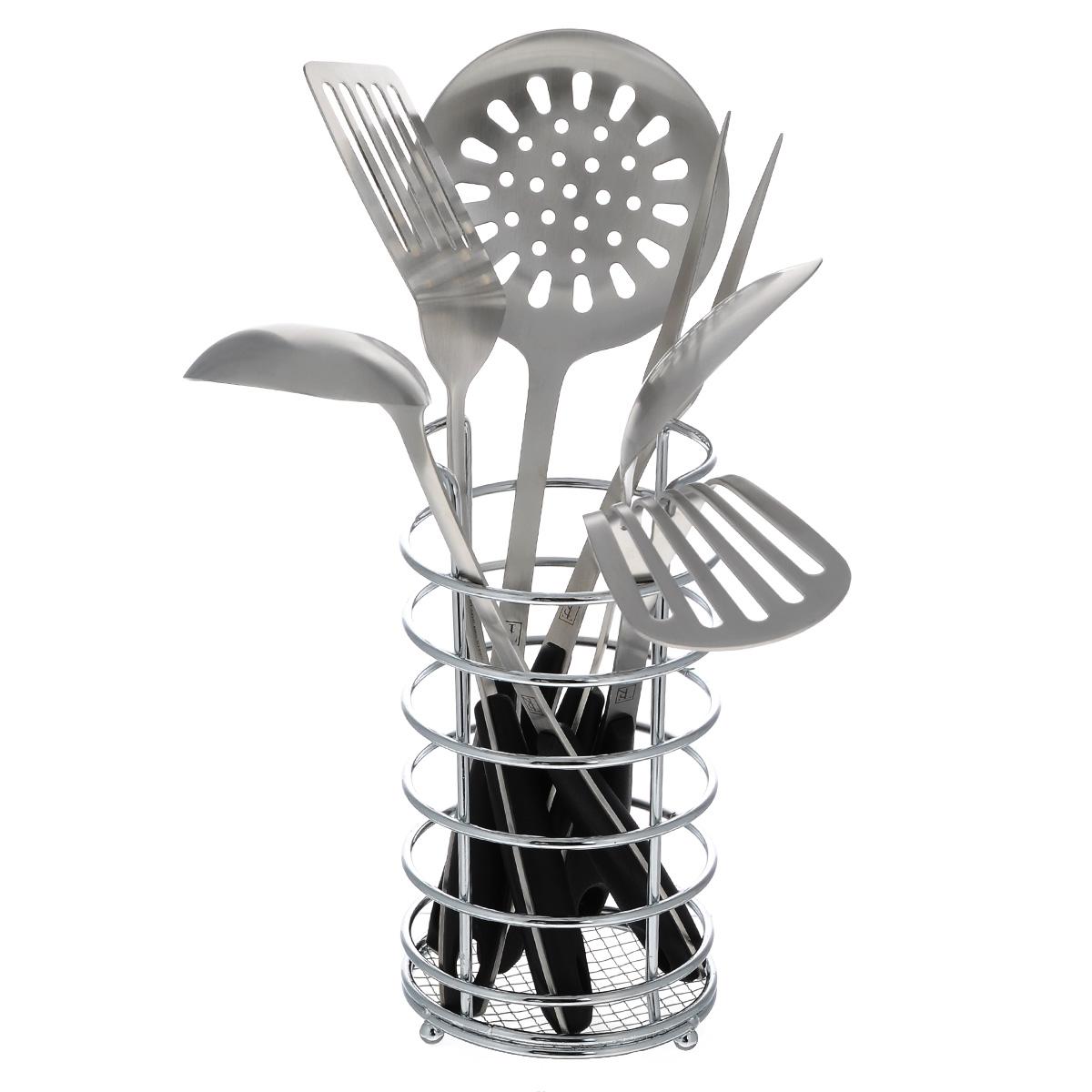 Набор кухонных принадлежностей Taller Кингсли, 7 предметовTR-1405Набор кухонных принадлежностей Taller Кингсли включает в себя: картофелемялку, половник, ложку поварскую, шумовку, вилку поварскую, лопатку перфорированную, подставку. Предметы набора выполнены из высококачественной нержавеющей стали 18/10. Ручки выполнены из бакелита и оснащены отверстиями на конце, благодаря которым, вы сможете их подвесить на подставку или в любое для вас удобное место. Эксклюзивный дизайн, эстетичность и функциональность набора Taller Кингсли позволят ему занять достойное место среди кухонного инвентаря. Рекомендована ручная мойка.