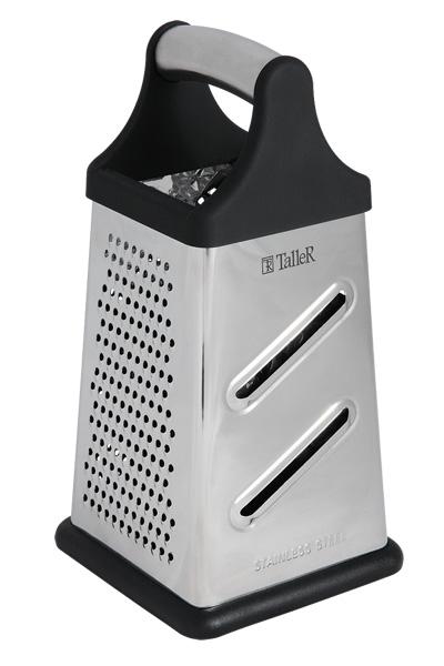 Терка четырехгранная Taller Ember, высота 20,3 смTR-1910Четырехгранная терка Taller Ember выполнена из высококачественной нержавеющей стали. Ручка изготовлена из нержавеющей стали и силикона. Надежное крепление ручки гарантирует безопасное использование. Всего 4 вида лезвий: средняя терка, мелкая терка, шинковка и шредер. Нескользящий силиконовый протектор на основании предотвращает скольжение во время использования и защищает поверхность от повреждений. Каждая хозяйка оценит все преимущества этой терки. Очень практичный и современный дизайн делает изделие весьма простым в эксплуатации. Можно мыть в посудомоечной машине при температуре 65°С.