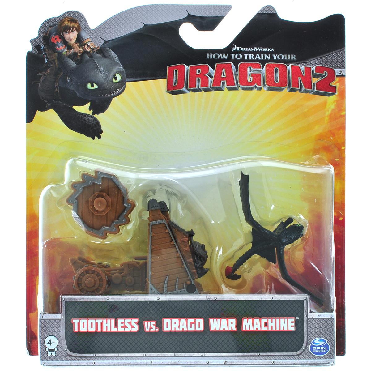 Набор для битв Dragons Toothless vs Drago War Machine66561_20064842Набор для битв Dragons Toothless vs Drago War Machine создан на основе масштабных батальных сцен из мультфильма Как приручить дракона 2. По сюжету драконы сражаются против боевых машин. Набор выполнен из прочного пластика и включает фигурку дракона Беззубика и боевую пушку Драго. С помощью этого набора для битвы ребенок воссоздаст картину сражения прямо в своей комнате и окунется в гущу событий мультфильма, будет проигрывать любимые сцены или придумывать свои истории!