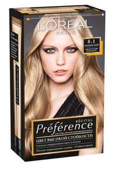 LOreal Paris Краска для волос Preference, с бальзамом -усилителем цвета, оттенок 8.1, Копенгаген, 270 млA8454201Легендарная краска Preference от LOreal Paris - премиальное качество окрашивания! В ее разработке приняли участие эксперты из лабораторий LOreal Paris и профессиональный колорист Кристоф Робин. Более объемные красящие вещества Preference дольше удерживаются в структуре волоса, обеспечивая совершенный стойкий цвет. Уникальная технология против вымывания цвета и комплекс ЭКСТРАБЛЕСК подарят насыщенный цвет и великолепный блеск в течение 8 недель.