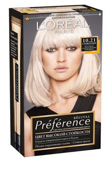 LOreal Paris Краска для волос Preference, с бальзамом -усилителем цвета, оттенок 10.21, Стокгольм, 270 млA8563301Легендарная краска Preference от LOreal Paris - премиальное качество окрашивания! В ее разработке приняли участие эксперты из лабораторий LOreal Paris и профессиональный колорист Кристоф Робин. Более объемные красящие вещества Preference дольше удерживаются в структуре волоса, обеспечивая совершенный стойкий цвет. Уникальная технология против вымывания цвета и комплекс ЭКСТРАБЛЕСК подарят насыщенный цвет и великолепный блеск в течение 8 недель. В состав упаковки входит: флакон гель-краски (60 мл), флакон-аппликатор с проявляющим кремом (60 мл), бальзам Усилитель цвета (54 мл), инструкция, пара перчаток.