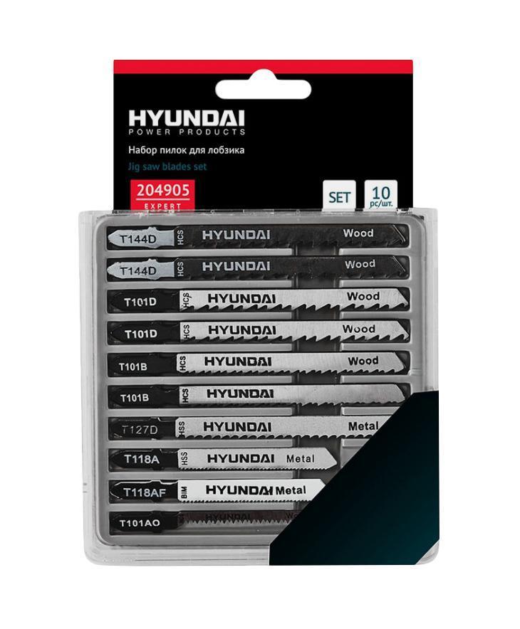 Hyundai набор пилок по дереву, пластику и металлу для лобзиков, 10 шт204905
