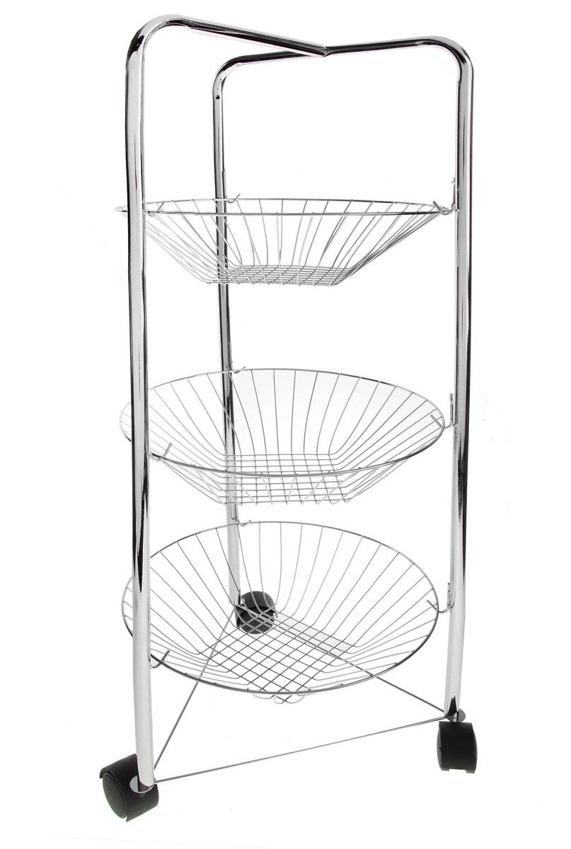 Этажерка Доляна, 3-х ярусная, на колесиках, 30 см х 30 см х 75 см131384Изящная этажерка Доляна выполнена из металла. Предназначена для хранения различных предметов на кухне или в ванной. На кухне в ней можно хранить овощи и фрукты, в ванной - различные ванные принадлежности. Этажерка содержит съемные круглые корзинки из металлической проволоки. Благодаря колесикам этажерку можно перемещать в любую сторону без особых усилий. Очень удобная и компактная, но в тоже время вместительная, она прекрасно впишется в пространство любого помещения. Этажерка придется особенно кстати, если у вас небольшая ванная или кухня: она занимает минимум пространства. Легко собирается и разбирается. Размер этажерки (ДхШхВ): 30 см х 30 см х 75 см. Диаметр корзинки: 30 см. Высота корзинки: 7 см.
