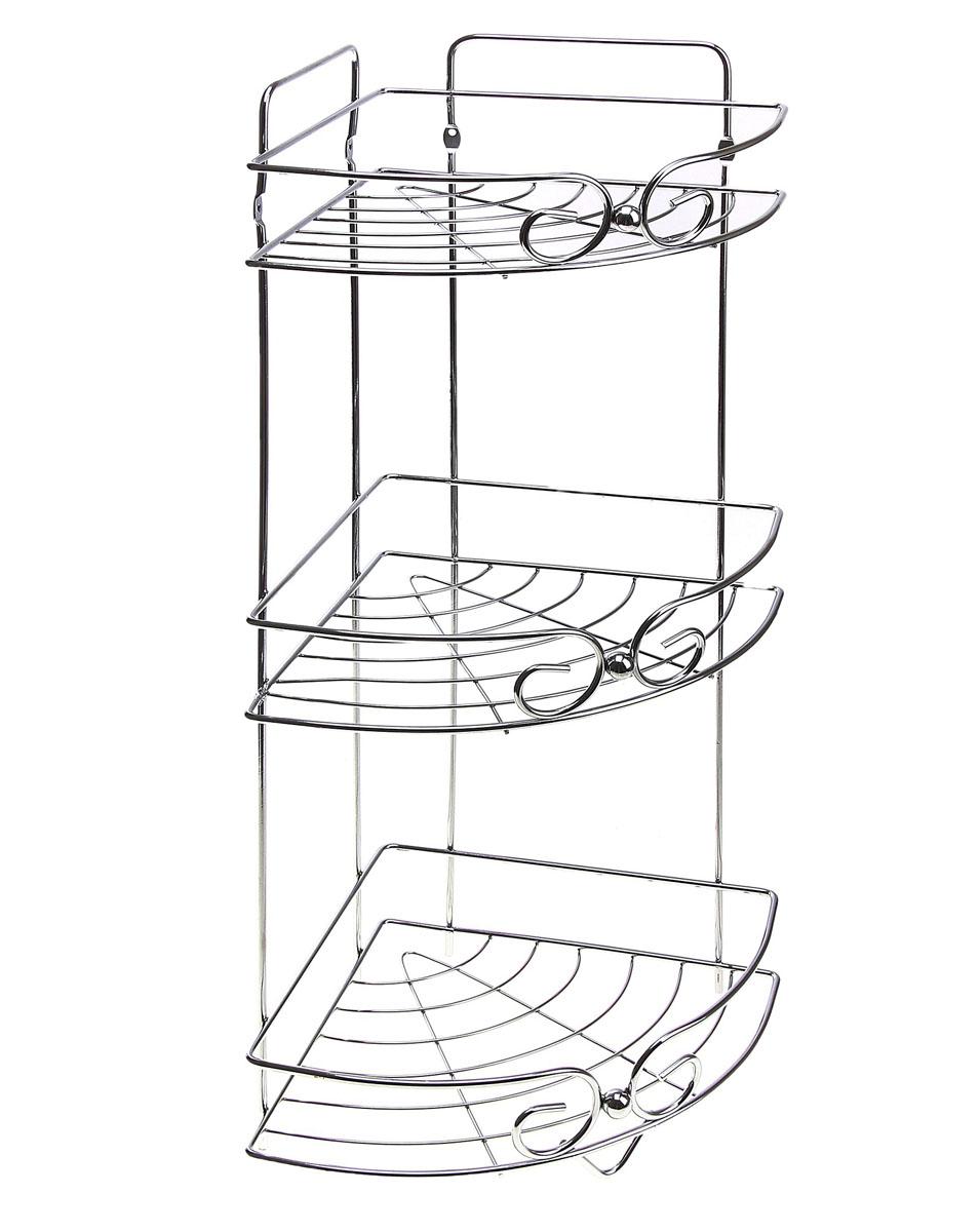 Полка угловая Доляна, 3-х ярусная, высота 58 см131399Полка Доляна выполнена из высококачественного металла и предназначена для хранения вещей в ванной комнате. Полка угловая и состоит из 3-х ярусов одинакового размера с бортиком по краю. Она пригодится для хранения различных предметов, которые всегда будут под рукой. Благодаря компактным размерам полка впишется в интерьер вашего дома и позволит вам удобно и практично хранить предметы домашнего обихода. Удобная и практичная металлическая полочка станет незаменимым аксессуаром в вашем хозяйстве.
