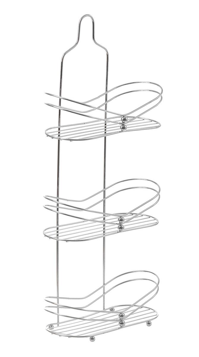 Полка угловая Доляна, 3-х ярусная, высота 65 см131402Полка Доляна выполнена из высококачественного металла и предназначена для хранения вещей в ванной комнате. Полка состоит из 3-х ярусов овальной формы с бортиком по краю. Она пригодится для хранения различных предметов, которые всегда будут под рукой. Благодаря компактным размерам полка впишется в интерьер вашего дома и позволит вам удобно и практично хранить предметы домашнего обихода. Удобная и практичная металлическая полочка станет незаменимым аксессуаром в вашем хозяйстве.