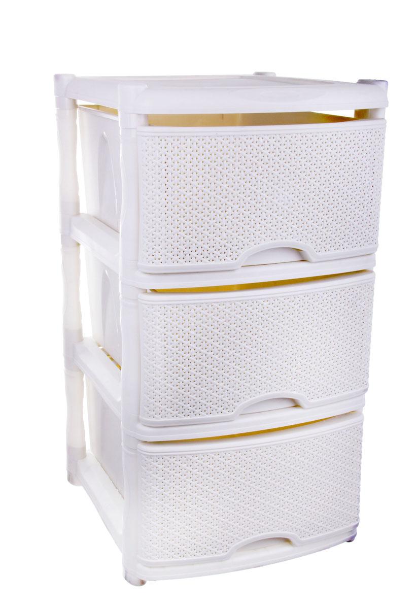 Комод Plastic Centre Rattan, цвет: белый, 41 х 48 х 72,3 см145797Комод Plastic Centre Rattan изготовлен из высококачественного экологически безопасного полипропилена. Он предназначен для хранения вещей, детских игрушек, хозяйственных принадлежностей и прочих предметов. Комод состоит из трех вместительных выдвижных ящиков с ручками и оснащен четырьмя ножками. Комод Plastic Centre Rattan надежно защитит ваши вещи от загрязнений, пыли и моли, а также позволит вам хранить их компактно и с удобством. Размер ящиков: 46,7 см х 33,5 см х 19,8 см.