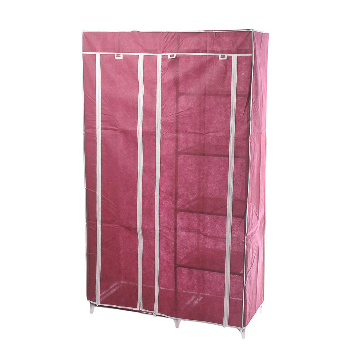 Мобильный шкаф для одежды Sima-land, цвет: бордовый, 110 см х 45 см х 175 см. 178921178921Мобильный шкаф для одежды Sima-land, предназначенный для хранения одежды и других вещей, это отличное решение проблемы, когда наблюдается явный дефицит места или есть временная необходимость. Складной тканевый шкаф - это мобильная конструкция, состоящая из сборного металлического каркаса, на который натянут чехол из нетканого полотна. Корпус шкафа сделан из легкой, но прочной стали, а обивка из полиэстера, который можно легко стирать в стиральной машинке. Шкаф оснащен двумя отделами с текстильными дверями, которые закрываются на застежки-молнии. Чтобы открыть шкаф вы можете скрутить двери и зафиксировать их наверху с помощью ремешков на липучках. В одном отделе присутствует перекладина для хранения вещей на вешалках, во втором отделе - 4 вместительные полки.