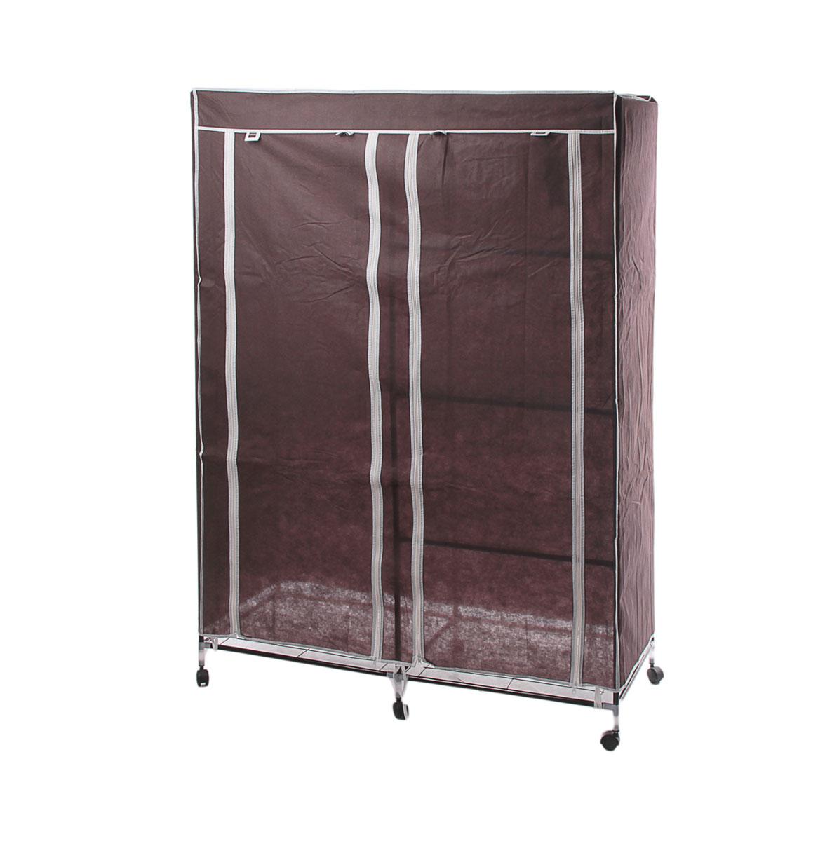 Мобильный шкаф для одежды Sima-land, цвет: коричневый, 120 х 50 х 175 см 178922178922Мобильный шкаф для одежды Sima-land, предназначенный для хранения одежды и других вещей, это отличное решение проблемы, когда наблюдается явный дефицит места или есть временная необходимость. Складной тканевый шкаф - это мобильная конструкция, состоящая из сборного металлического каркаса, на который натянут чехол из нетканого полотна. Корпус шкафа сделан из легкой, но прочной стали, а обивка из полиэстера, который можно легко стирать в стиральной машинке. Шкаф оснащен двумя отделами с текстильными дверями, которые закрываются на застежки-молнии. Чтобы открыть шкаф вы можете скрутить двери и зафиксировать их наверху с помощью ремешков на липучках. В одном отделе присутствует перекладина для хранения вещей на вешалках, во втором отделе - 3 вместительные полки. Изделие снабжено колесиками для удобной транспортировки.