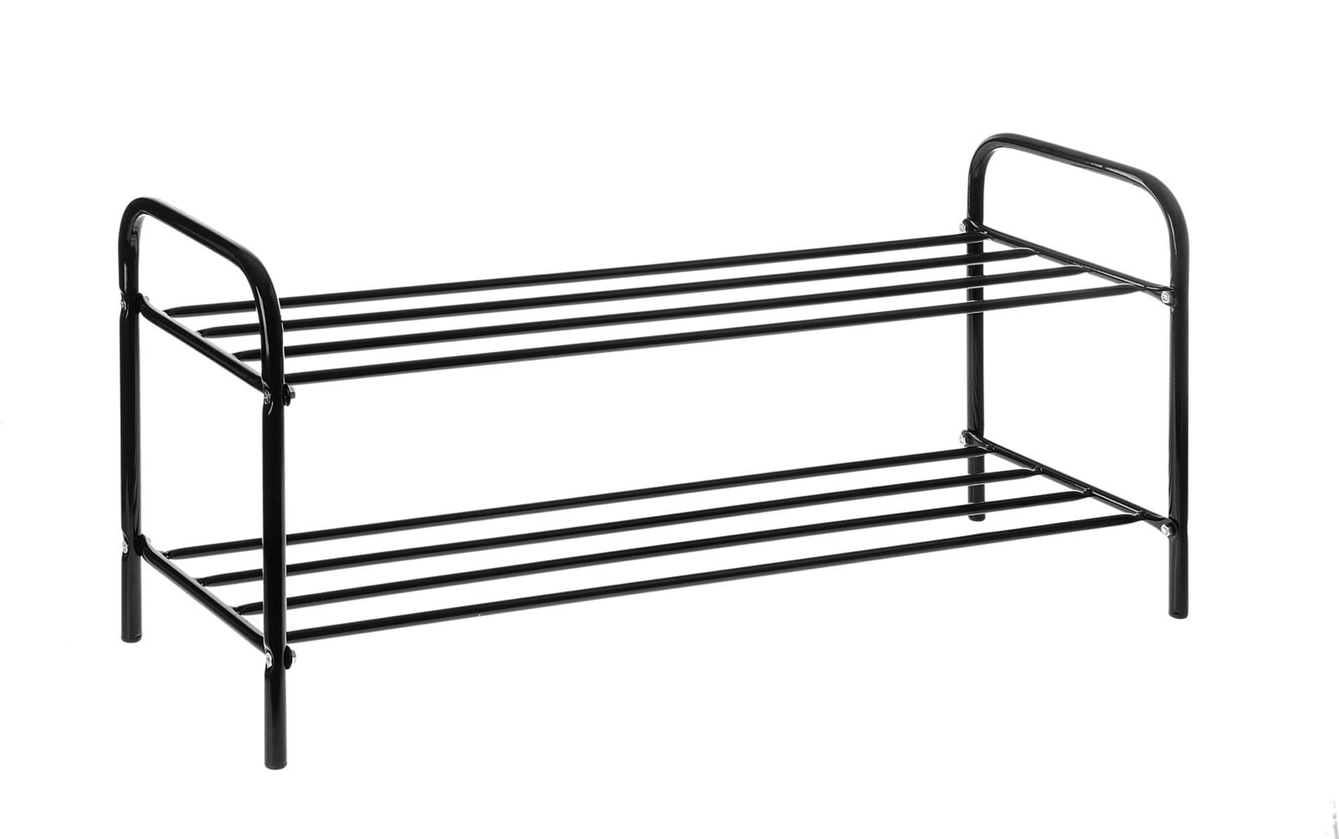 Подставка для обуви, 2 яруса, цвет: черный, 80 см х 30 см х 37 см192510Подставка для обуви представляет собой этажерку, выполненную из высококачественной стали. Содержит 2 яруса, на которых можно разместить по несколько пар обуви. Удобная, компактная и вместительная, такая подставка идеально впишется в интерьер прихожей. Она поможет легко организовать пространство и аккуратно хранить вашу обувь, стильный и необычный дизайн сделает ее оригинальным элементом декора. Крепления для сборки в комплекте. Размер подставки (ДхШхВ): 80 см х 30 см х 37 см.