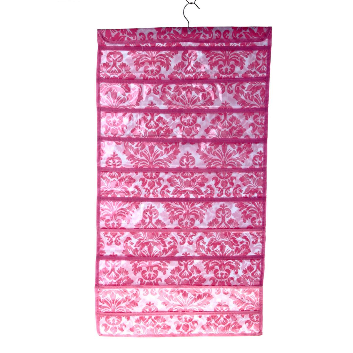 Органайзер для хранения вещей Sima-land с вешалкой, цвет: розовый, 80 отделений. 709827709827Органайзер Sima-land, изготовленный из ПВХ и текстиля, предназначен для хранения необходимых вещей, множества мелочей в гардеробной, ванной, детской комнатах. Изделие представляет собой текстильное полотно с 80 пришитыми кармашками. Благодаря металлической вешалке, органайзер можно подвесить на стену или дверь в необходимом для вас месте. Органайзер декорирован оригинальным цветочным орнаментом. Этот нужный предмет может стать одновременно и декоративным элементом комнаты. Яркий дизайн, как ничто иное, способен оживить интерьер вашего дома. Размер отделений: 11 см х 6 см.