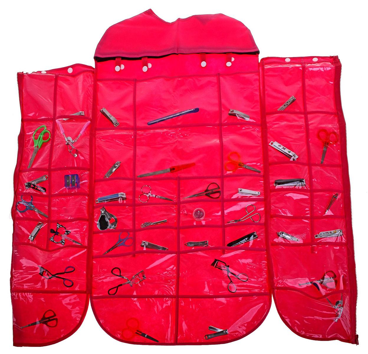 Органайзер для хранения вещей Sima-land, цвет: розовый, 46 отделений710523Органайзер Sima-land, изготовленный из ПВХ и текстиля, предназначен для хранения необходимых вещей, множества мелочей в гардеробной, ванной, детской комнатах. Изделие оснащено застежкой-молнией и 46 прозрачными карманами разного размера и формы, пришитыми к текстильному полотну. Органайзер можно повесить в любом удобном для вас месте с помощью вешалки. Этот нужный предмет может стать одновременно и декоративным элементом комнаты. Яркий дизайн, как ничто иное, способен оживить интерьер вашего дома. Размер самого большого отделения: 22 см х 13,5 см. Размер самого маленького отделения: 8,5 см х 6,5 см.