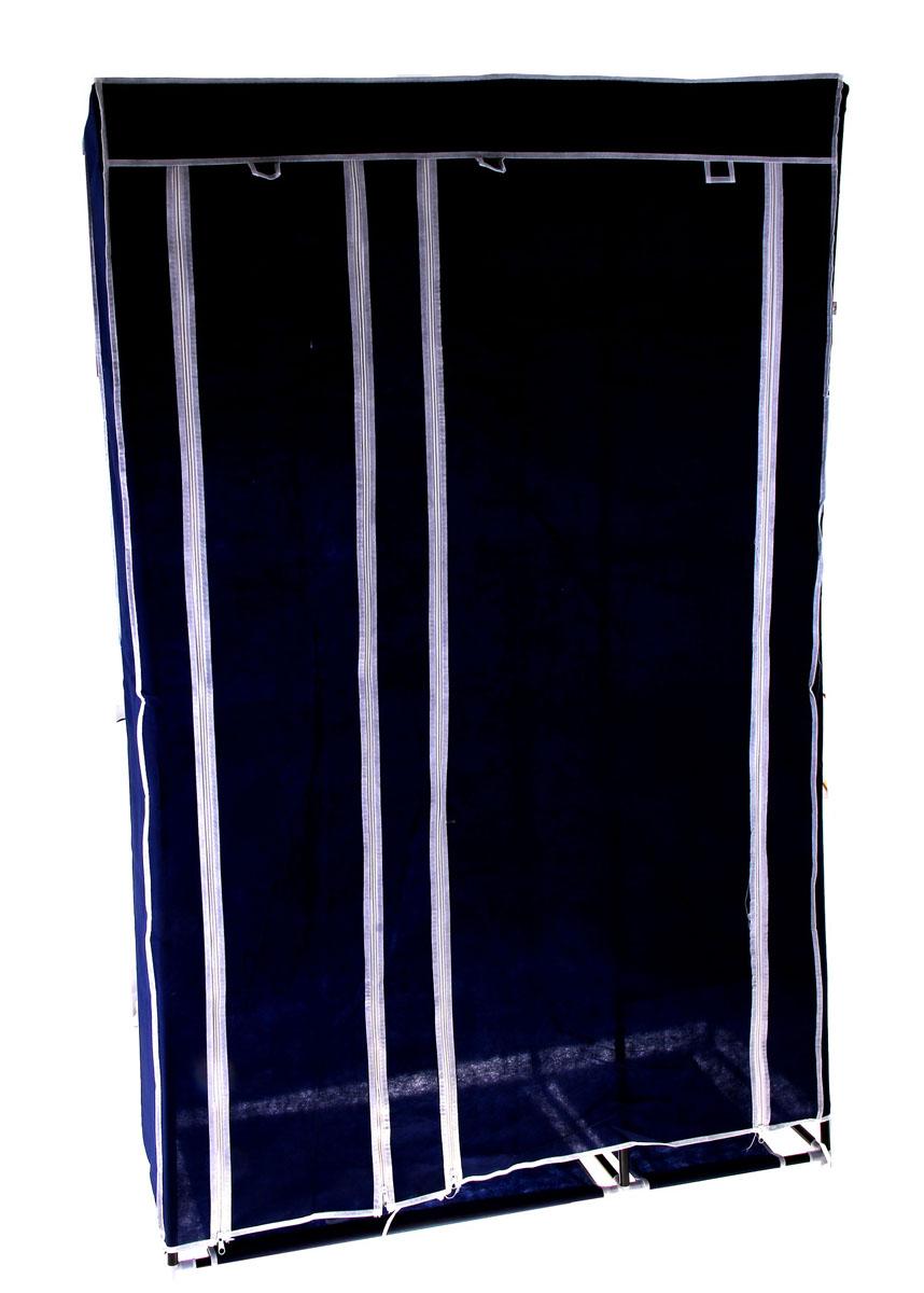 Мобильный шкаф для одежды Sima-land, цвет: синий, 110 см х 45 см х 175 см. 753629753629Мобильный шкаф для одежды Sima-land, предназначенный для хранения одежды и других вещей, это отличное решение проблемы, когда наблюдается явный дефицит места или есть временная необходимость. Складной тканевый шкаф - это мобильная конструкция, состоящая из сборного металлического каркаса, на который натянут чехол из нетканого полотна. Корпус шкафа сделан из легкой, но прочной стали, а обивка из полиэстера, который можно легко стирать в стиральной машинке. Шкаф оснащен двумя отделами с текстильными дверями, которые закрываются на застежки-молнии. Чтобы открыть шкаф вы можете скрутить двери и зафиксировать их наверху с помощью ремешков на липучках. В одном отделе присутствует перекладина для хранения вещей на вешалках, во втором отделе - 4 вместительные полки.