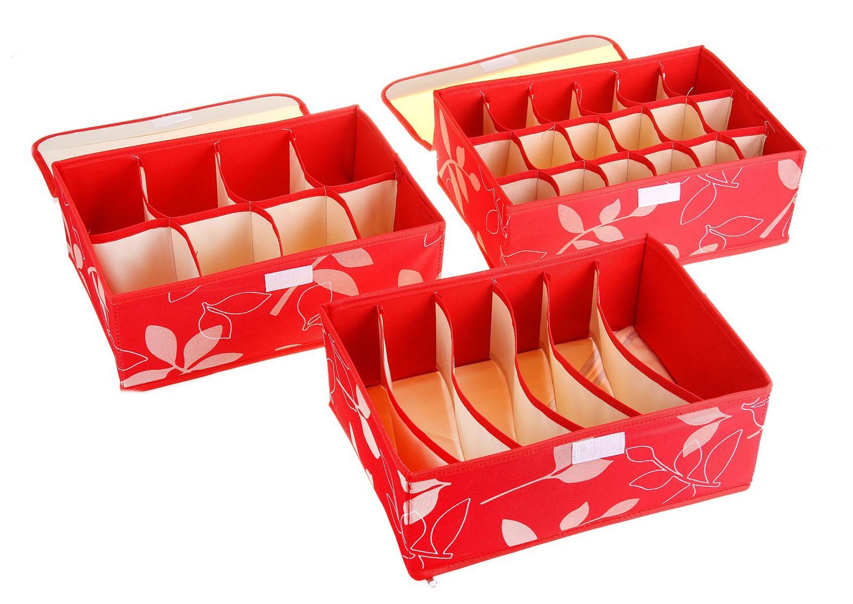 Кофр для мелких вещей Листочки, цвет: красный, 32 см х 24 см х 12 см, 3 шт. 760568760568