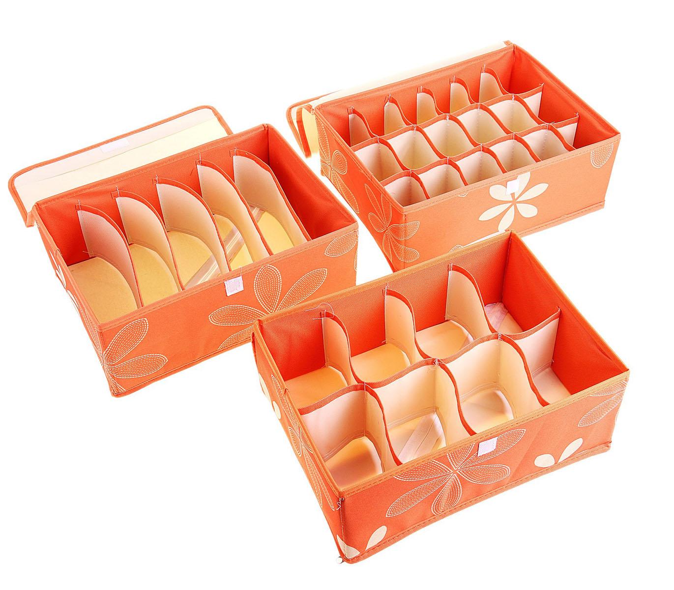 Кофр для мелких вещей Sima-land Цветы, с крышкой, цвет: оранжевый, 32 х 24 х 12 см, 3 шт760572