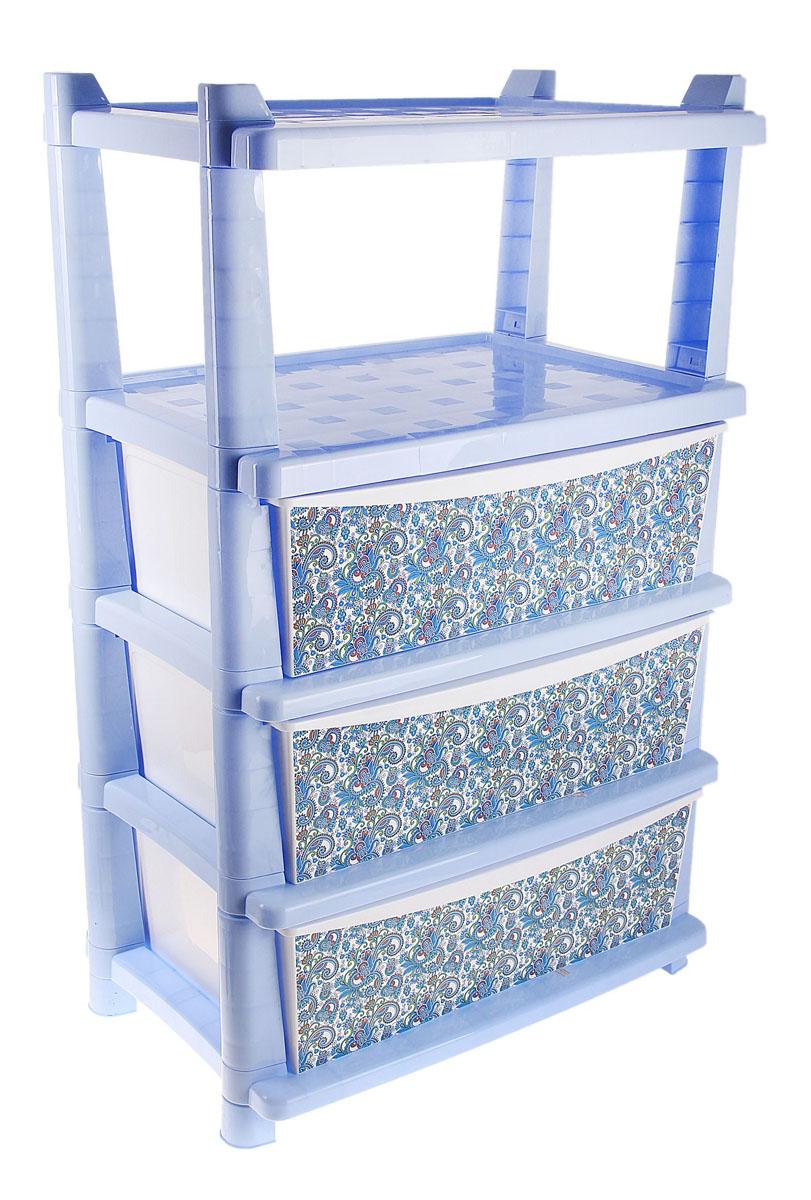 Комод Plastic Centre Deco, цвет: сиреневый, 61 х 41 х 90 см 767435767435Комод Plastic Centre Deco изготовлен из высококачественного пластика. Предназначен для хранения различных вещей, игрушек, канцтоваров. Изделие оснащено тремя вместительными выдвижными ящиками и полкой. Ящики декорированы оригинальным узором. Такой оригинальный комод надежно защитит вещи от загрязнений, пыли и моли, а также позволит вам хранить их компактно и с удобством. Размер ящика: 53 см х 40 см х 16,5 см.