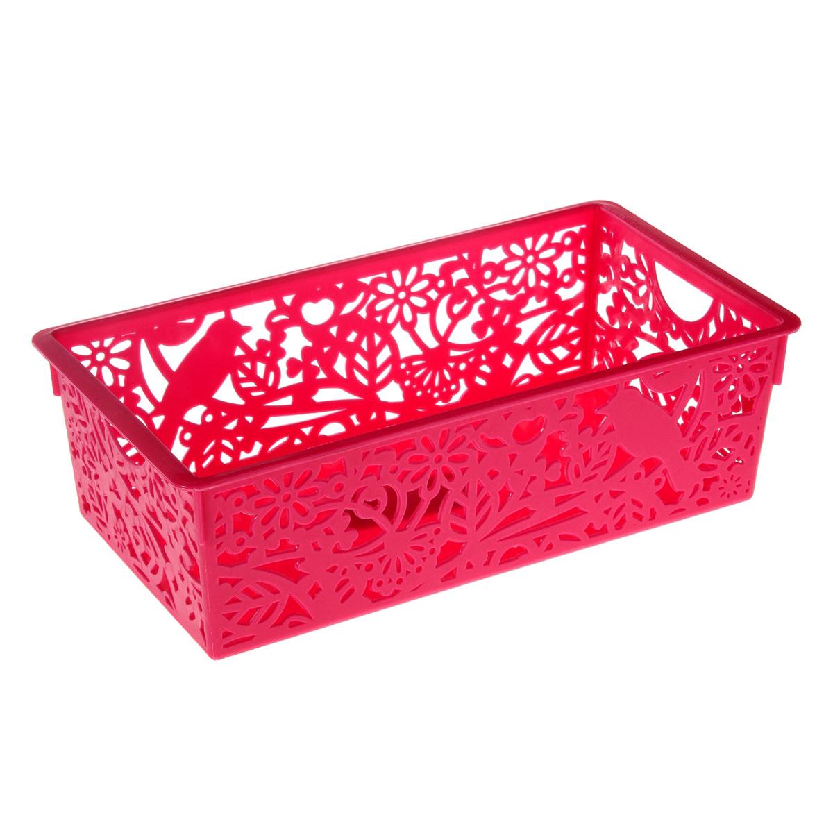 Корзина для мелочей Птицы, 14,5*27,5*8,5 см, цвет: розовый, 799920799920Корзина для мелочей Птицы, 14,5*27,5*8,5 см, 799920 Материал: Пластик