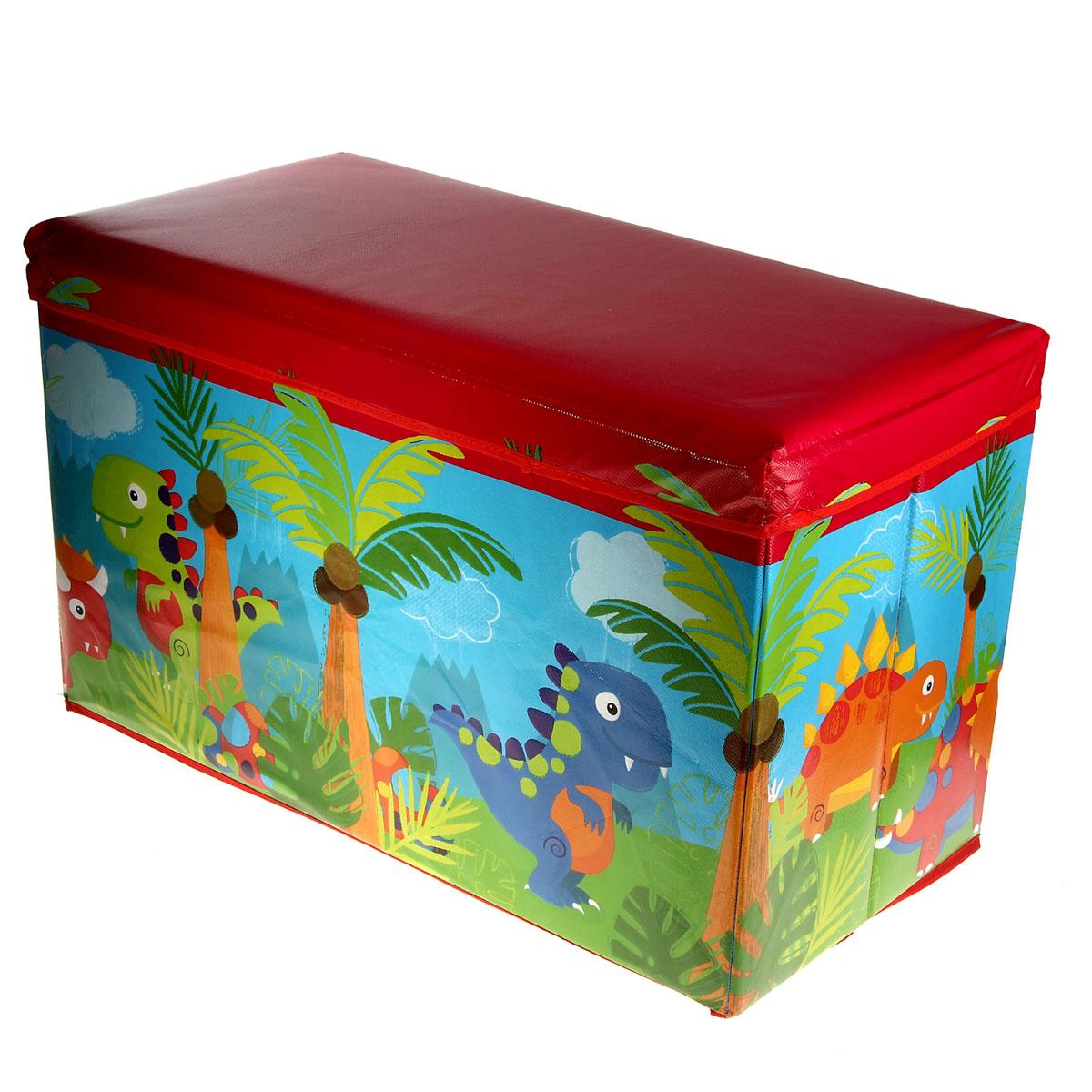 Коробка для хранения Sima-land Динозаврики, 35 см х 59 см х 31 см848388Коробка для хранения Sima-land Динозаврики изготовлена из искусственной кожи и картона. Коробка имеет съемную, мягкую крышку. Материал коробки позволяет сохранять естественную вентиляцию, а воздуху свободно проникать внутрь, не пропуская пыль. Благодаря специальным вставкам, коробка прекрасно держит форму, что позволяет ее использовать как дополнительное посадочное место для ребенка. Красочный дизайн коробки понравиться вашему ребенку. Компактные габариты коробки не загромождают помещение. Коробку можно хранить в обычном шкафу. Внутренняя емкость позволяет хранить внутри игрушки, книжки и другие вещи. Мобильность коробки обеспечивает складывание и раскладывание ее одним движением. Коробка Sima-land Динозаврики - идеальное решения для хранения вещей.