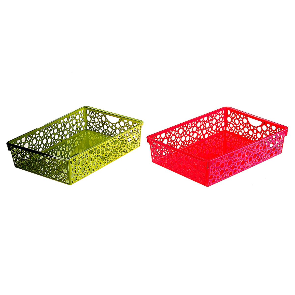 Корзина для мелочей с ручками, 34*25*8 см, 848403 цвет розовый848403Корзина для мелочей с ручками, 34*25*8 см, микс цвета 848403 Материал: Пластик