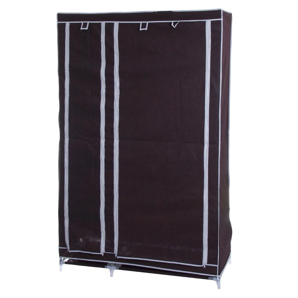 Мобильный шкаф для одежды Sima-land, цвет: кофейный, 110 х 45 х 175 см 852965852965Мобильный шкаф для одежды Sima-land, предназначенный для хранения одежды и других вещей, это отличное решение проблемы, когда наблюдается явный дефицит места или есть временная необходимость. Складной тканевый шкаф - это мобильная конструкция, состоящая из сборного металлического каркаса, на который натянут чехол из нетканого полотна. Корпус шкафа сделан из легкой, но прочной стали, а обивка из полиэстера, который можно легко стирать в стиральной машинке. Шкаф оснащен двумя отделами с текстильными дверями, которые закрываются на застежки-молнии. Чтобы открыть шкаф вы можете скрутить двери и зафиксировать их наверху с помощью ремешков на липучках. В одном отделе присутствует перекладина для хранения вещей на вешалках, во втором отделе - 4 вместительные полки.