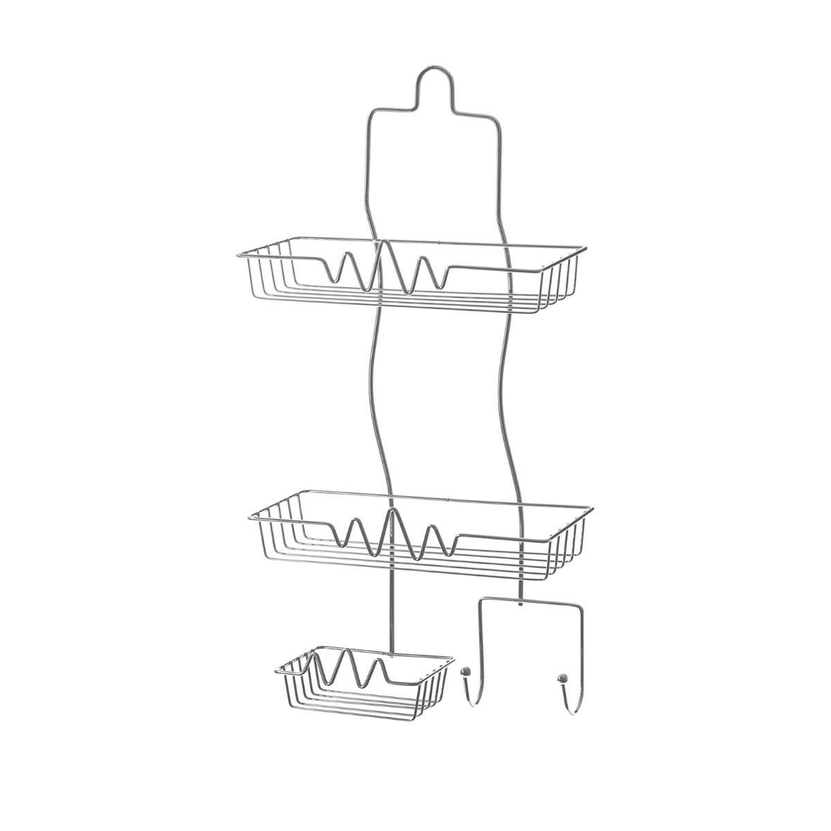 Полка Доляна, 2-х ярусная, с мыльницей, высота 53 см853678Полка Доляна выполнена из высококачественного металла и предназначена для хранения вещей в ванной комнате. Полка состоит из 2-х ярусов прямоугольной формы, мыльницы и двух крючков. Она пригодится для хранения различных предметов, которые всегда будут под рукой. Благодаря компактным размерам полка впишется в интерьер вашего дома и позволит вам удобно и практично хранить предметы домашнего обихода. Удобная и практичная металлическая полочка станет незаменимым аксессуаром в вашем хозяйстве. Высота полки: 53 см. Размер яруса: 26 см х 11 см. Расстояние между ярусами: 21 см. Размер мыльницы: 13 см х 9 см.