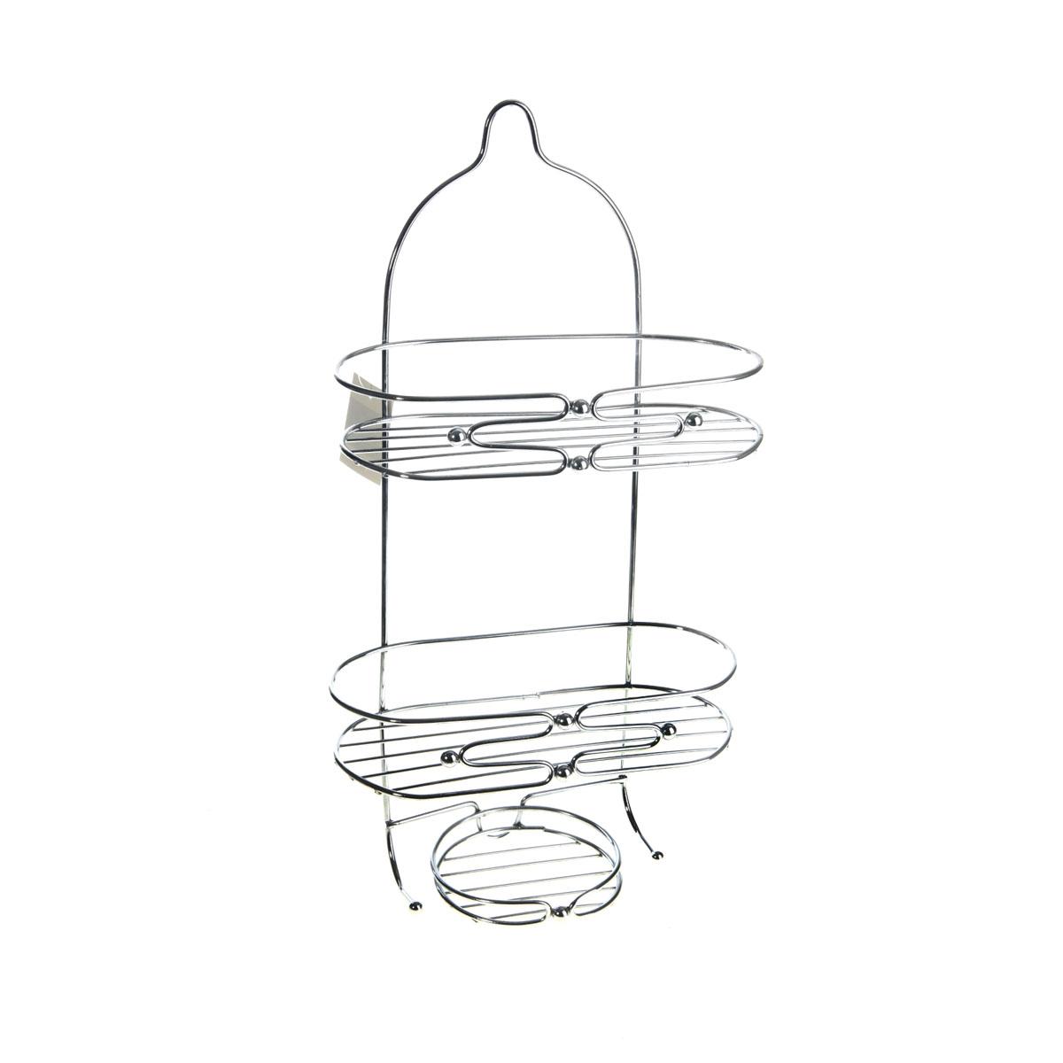 Полка Доляна, 2-х ярусная, с мыльницей, высота 50 см853681Полка Доляна выполнена из высококачественного металла и предназначена для хранения вещей в ванной комнате. Полка состоит из 2-х ярусов овальной формы, мыльницы и двух крючков. Она пригодится для хранения различных предметов, которые всегда будут под рукой. Благодаря компактным размерам полка впишется в интерьер вашего дома и позволит вам удобно и практично хранить предметы домашнего обихода. Удобная и практичная металлическая полочка станет незаменимым аксессуаром в вашем хозяйстве. В комплекте - крепежные элементы.