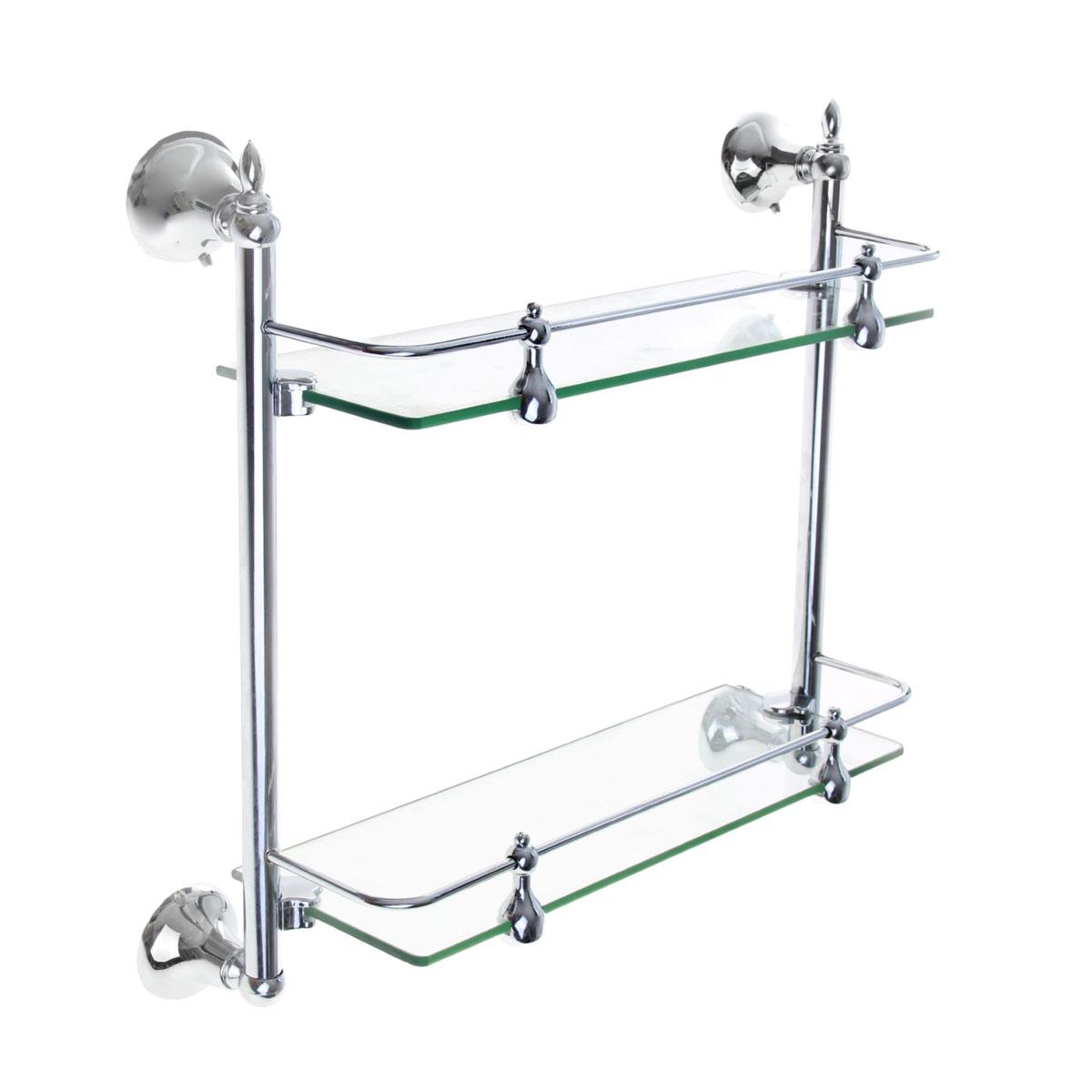 Полка для ванной комнаты Доляна, 2-х ярусная, 35 см х 12 см х 36 см855968Полка Доляна выполнена из стекла и высококачественного металла и предназначена для хранения вещей в ванной комнате. Полка состоит из 2-х ярусов прямоугольной формы. Она пригодится для хранения различных предметов, которые всегда будут под рукой. Благодаря компактным размерам полка впишется в интерьер вашего дома и позволит вам удобно и практично хранить предметы домашнего обихода. Удобная и практичная металлическая полочка станет незаменимым аксессуаром в вашем хозяйстве. Крепления входят в комплект. Размер полки (ДхШхВ): 35 см х 12 см х 36 см.