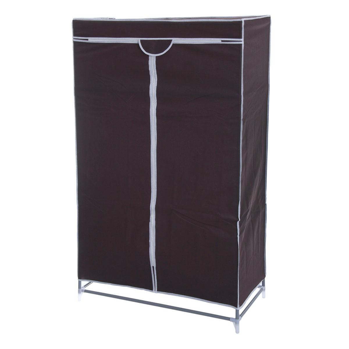 Мобильный шкаф для одежды Sima-land, цвет: кофейный, 90 см х 45 см х 155 см. 888799888799Мобильный шкаф для одежды Sima-land, предназначенный для хранения одежды и других вещей, это отличное решение проблемы, когда наблюдается явный дефицит места или есть временная необходимость. Складной тканевый шкаф - это мобильная конструкция, состоящая из сборного металлического каркаса, на который натянут чехол из нетканого полотна. Корпус шкафа сделан из легкой, но прочной стали, а обивка из полиэстера, который можно легко стирать в стиральной машинке. Шкаф оснащен двумя текстильными дверями, которые закрываются на застежку-молнию. Шкаф снабжен полкой и планкой для хранения вещей на вешалках.