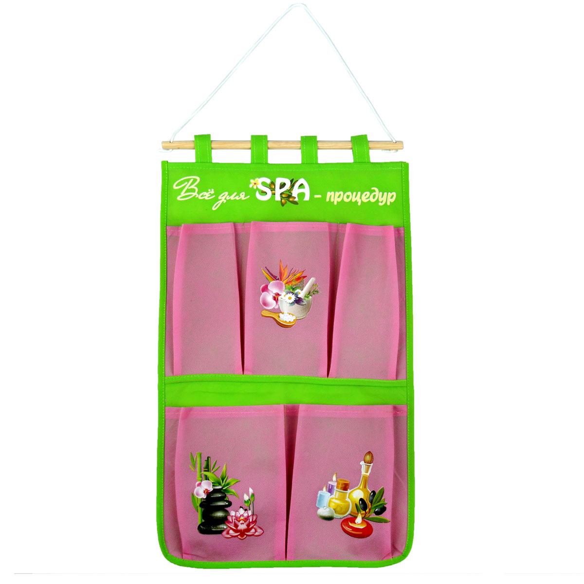 Кармашки на стену Sima-land Все для спа процедур, цвет: розовый, 5 шт906887Кармашки на стену Sima-land Все для спа процедур, изготовленные из текстиля и пластика, предназначены для хранения необходимых вещей, множества мелочей в гардеробной, ванной, детской комнатах. Изделие представляет собой текстильное полотно с 5 пришитыми кармашками. Благодаря деревянной планке и шнурку, кармашки можно подвесить на стену или дверь в необходимом для вас месте. Кармашки декорированы изображениями различных аксессуаров для спа процедур. Этот нужный предмет может стать одновременно и декоративным элементом комнаты. Яркий дизайн, как ничто иное, способен оживить интерьер вашего дома.