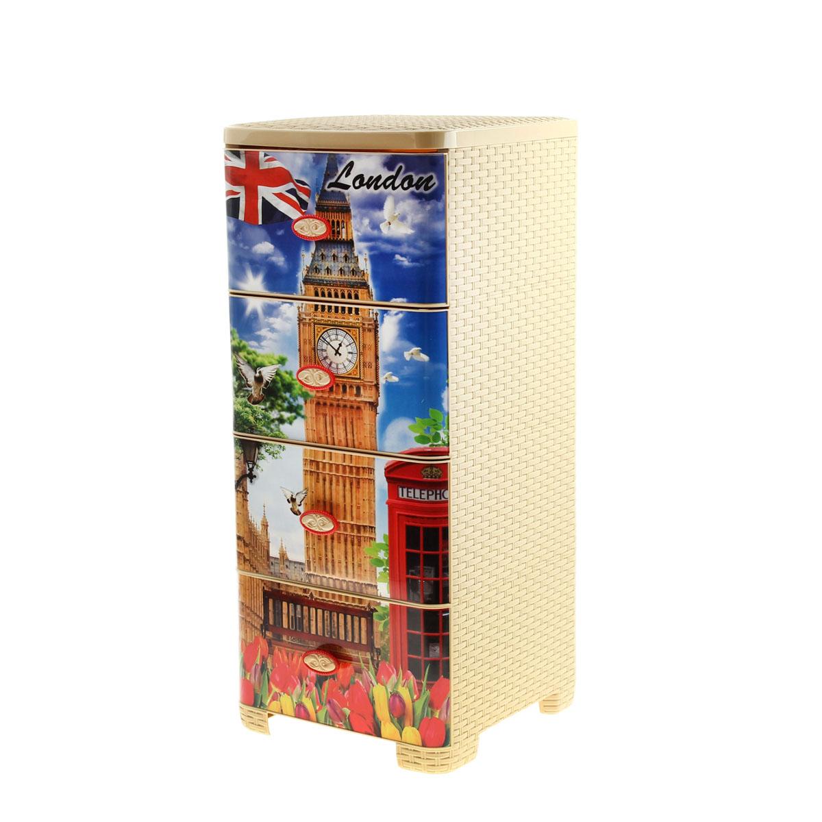 Комод плетеный Альтернатива Лондон, 60 см х 40 см х 60 см984575Комод Альтернатива Лондон изготовлен из высококачественного экологически безопасного полипропилена. Он предназначен для хранения вещей, детских игрушек, хозяйственных принадлежностей и прочих предметов. Комод состоит из четырех вместительных выдвижных ящиков с ручками и оснащен четырьмя ножками. Комод Альтернатива Лондон надежно защитит ваши вещи от загрязнений, пыли и моли, а также позволит вам хранить их компактно и с удобством. Размер ящика: 37 см х 30 см х 17 см.