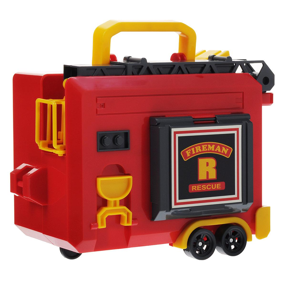 Robocar Poli Игрушка-кейс для трансформера Роя цвет красный желтый83077Игрушка-кейс для трансформера Роя непременно понравится вашему малышу. Он выполнен из прочного пластика красного и желтого цветов в виде фургончика на колесиках. Задняя стенка опускается, обеспечивая машинке удобный заезд внутри кейса. Фургончик снабжен выдвигающейся лестницей-вышкой, отсеком для хранения инструментов и опускающимися опорами. Пожарной машинке Рою в нем будет уютно. Кейс оснащен ручкой для переноски. Ваш ребенок будет в восторге от такого подарка!