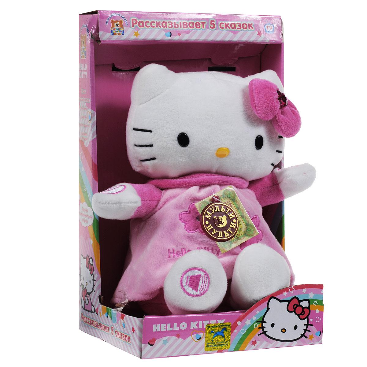 Анимированная игрушка Мульти-Пульти Hello Kitty, цвет: белый, розовыйV27388/25X розовыйHello Kitty - анимированная игрушка, выполненная в виде всем известной кошечки Китти, вызовет улыбку у каждого, кто ее увидит. Мягконабивная игрушка с пластиковыми глазками и носиком одета в розовый сарафанчик, на головке имеется розовый бантик со стразой в виде сердечка. При нажатии на ее левую верхнюю лапку, Китти расскажет одну из следующих сказок: Аленький цветочек, Дюймовочка, Золушка, Красная Шапочка, Принцесса на горошине. Во время исполнения Китти двигается синхронно со словами сказки. Если нажать на правую верхнюю лапку, Китти остановится и замолчит, при повторном нажатии в течение некоторого времени она продолжит с того места, где остановилась. Нажатием на правую нижнюю лапку регулируется громкость чтения сказки. Ваша малышка будет в восторге от такого подарка! Рекомендуется докупить 3 батарейки напряжением 1,5V типа ААА (товар комплектуется демонстрационными).