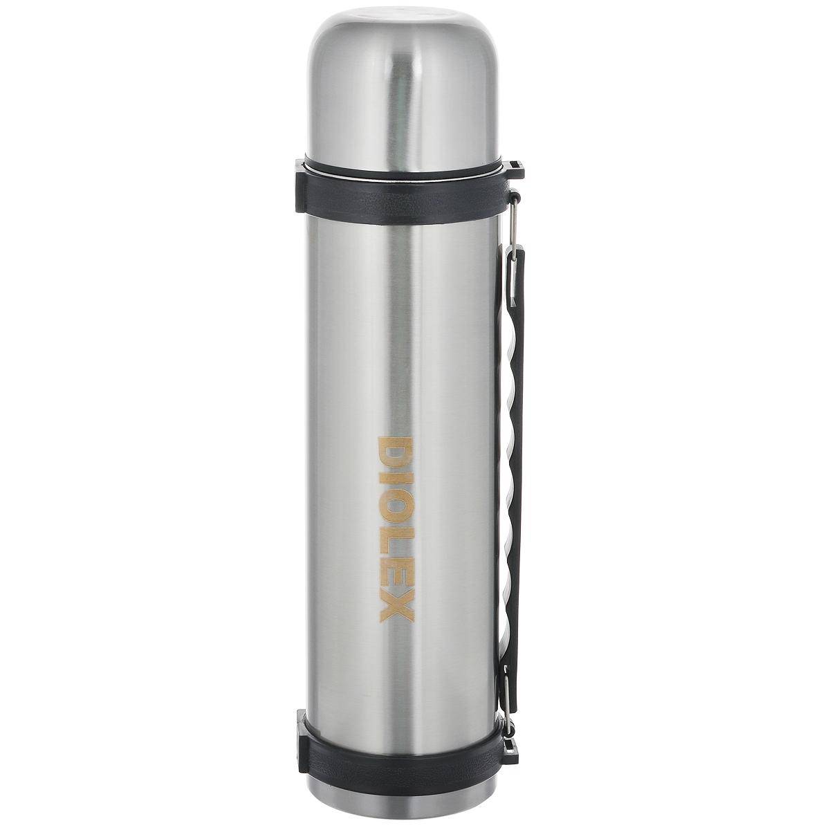 Термос Diolex, 1,5 лDXТ-1500-1Термос вакуумный Diolex с узким горлом изготовлен из высококачественной нержавеющей стали и предназначен для хранения горячих и холодных напитков (чая, кофе) и укомплектован пробкой с кнопкой. Такая пробка надежна, проста в использовании. Благодаря двойной колбе термос сохраняет напитки горячими до 12 часов и холодными до 24 часов. Изделие также оснащено крышкой-чашкой, откидной ручкой и ремешком для транспортировки.