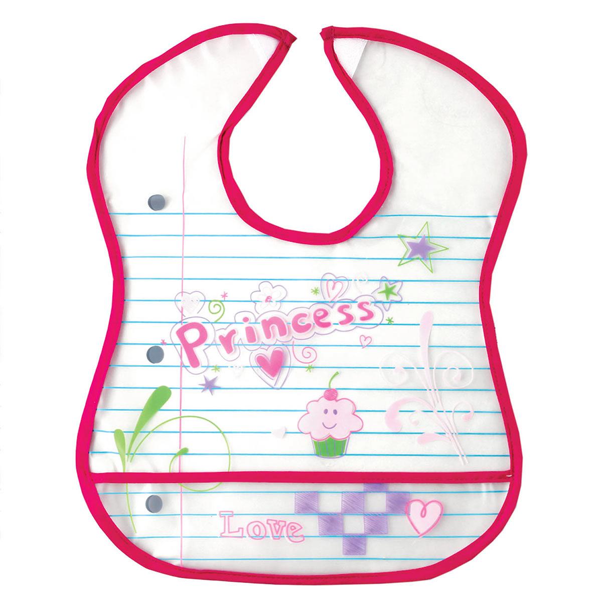 Нагрудник Luvable Friends Princess, водонепроницаемый, цвет: розовый01010малин