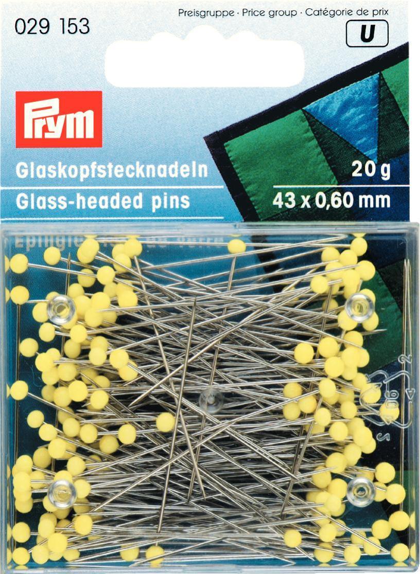 Булавки для шитья Prym, цвет: желтый, 43 х 0,6 мм, 20 г029153Булавки для шитья Prym изготовлены из закаленной стали с защитой от ржавчины и оснащены стеклянными головками желтого цвета. Термоустойчивые. Предназначены для шитья. Для хранения булавок предусмотрена прямоугольная пластиковая коробочка.