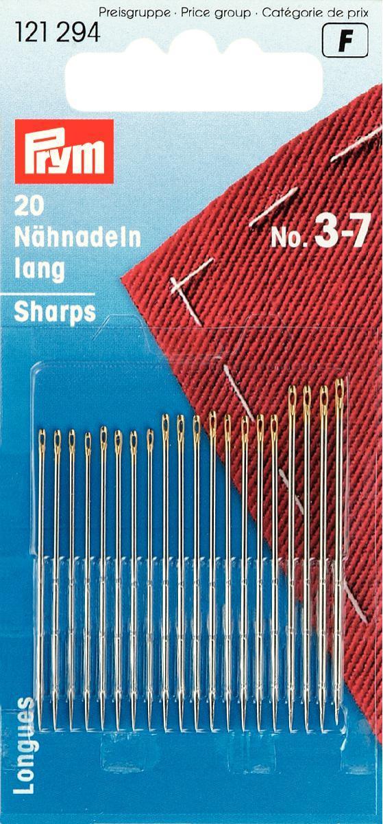 Иглы ручные Prym, для шитья, №3-7, 20 шт121294Ручные иглы Prym изготовлены из стали высокого качества с золотистыми ушками. Предназначены для ручного шитья/вышивки. Оснащены тонким острием. Ушко маленькое.